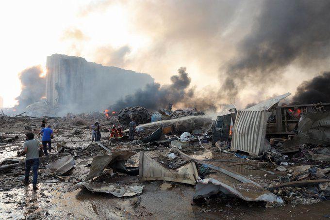 انفجار در انبار نفت کوره در بیروت+فیلم