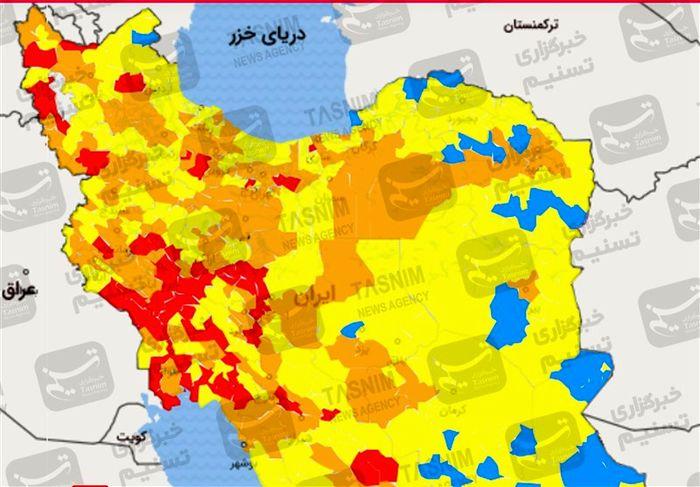 جزئیات دورکاری کارکنان براساس رنگ بندی شهرها