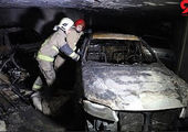 آتش سوزی یک گاراژ بزرگ در بلوار کرمان خودرو + فیلم