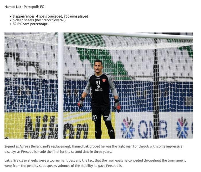 لک نامزد دروازه بان تیم رویایی لیگ قهرمانان آسیا